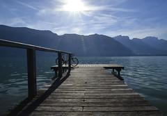 Magic lake (Thierry.Vaye) Tags: lac annecy ponton vélo eau contrejour savoie montagnes lake