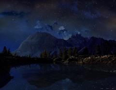 Notturno (Gio_guarda_le_stelle) Tags: notturno nightscape dolomiti dolomites dolomiten artwork landscape italy atmosphere limides lake reflection clouds stars stelle