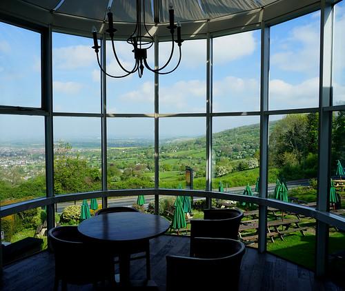 A view through the window at the Rising Sun Inn, Cleeve Hill