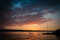 Memorial Day Weekend Sunset (jpetcoff) Tags: canandaigualake lake sunset sky clouds water hoist dock empty serene beautiful upstate ny new york dusk eveing summer memorial day