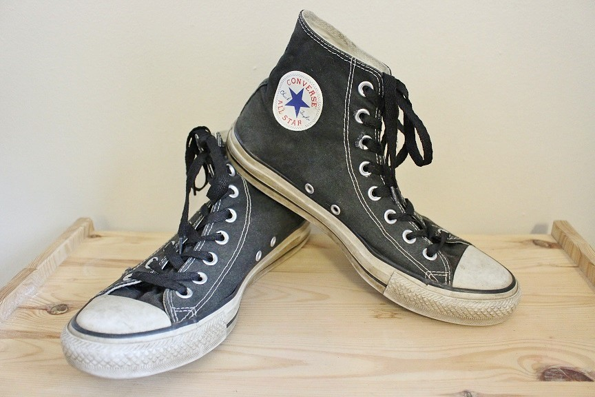 0ed14b2787df Vintage 90 s Black Converse All-Star High Top Sneakers Men s 8 Women s 10 (