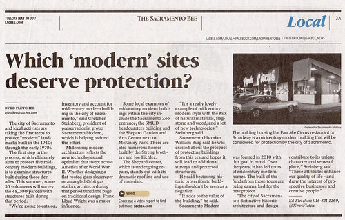 Sacramento Bee re: City of Sacramento Mid-Century Modern Historic Context Statement and Survey