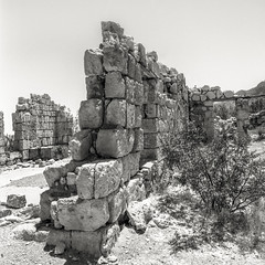 Crumbling (magnetic_red) Tags: zenzabronicas2a ultrafineextreme100 pmkpyro blackandwhite mojave national preserve americanwest wall crumbling decay stone lonesome abandoned mine bonanzaking filmdev:recipe=11435 ultrafinextreme100 photographersformularypyropmk film:brand=ultrafine film:name=ultrafinextreme100 film:iso=100 developer:brand=photographersformulary developer:name=photographersformularypyropmk