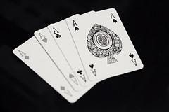 Aces High (jcbkk1956) Tags: ace diamonds spades clubs hearts suits manualfocus 50mmf17 pentax xt1 fuji blackwhite mono aceofspades aces playingcards cards