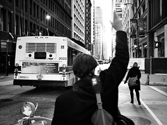 Don't Wait. Communicate. (bluephew) Tags: wow man monochrome taxi sunset 2017 spring fuji fujix100t darktable gimp chicago loop blackandwhite bw bnw street streetphotography streetart city town bright art light people contrast cap stop bus sign 23mmapscsensor