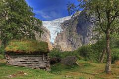 Briksdalsbreen glacier. (Roar Bævre Photography) Tags: norway 2014 norge summer hdr glacier building old