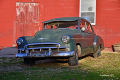 49' Chevy_175265 (rjmonner) Tags: chevy 1949 rusted rural metal tires barn red green restore salvage transportation chevrolet bumper