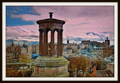 View from Calton Hill (Rollingstone1) Tags: dugaldstewartmonument monument caltonhill edinburgh view landscape cityscape town city sky cloud art artwork buildings scotland scene pictorial pillars spires castle hills trees traffic rooftops
