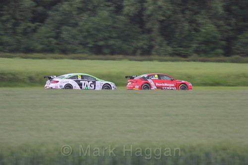 Jake Hill and Ollie Jackson in BTCC action at Croft, June 2017