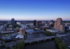 Grand Rapids (paulh192) Tags: grandrapids michigan fromtheair lowlight drone dji buildings bridge dusk lights river