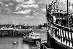 Front of 'The Golden Hind' ship in Brixham Harbour (_John Hikins) Tags: golden hind boat ship harbour brixham torbay clouds sea seaside nikon nikkor 50mm 50mm18 d5500 devon bw black blackwhite blackandwhite white water monochrome sir francis drake replica