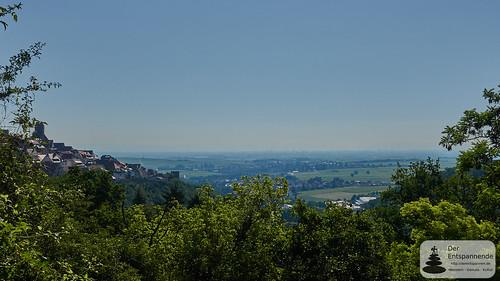Blick auf Rheinebene - Wandern auf dem Leininger Burgenweg