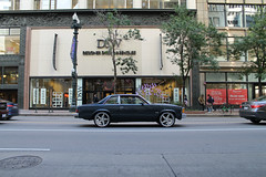 Designer (Flint Foto Factory) Tags: chicago illinois urban city summer solstice firstday june 2017 downtown loop chevrolet chevy malibu twodoor coupe classic generalmotors gm abody downsized midsize intermediate morning am rushhour dsw designershoewarehouse target 35 sstatest statest monroe intersection side profile retail store front 1980