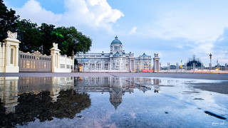Ananta Samakhom throne hall with reflection in rainy day