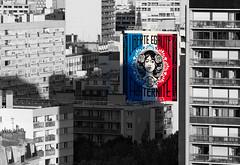 Liberté, Egalité, Fraternité (Julianoz Photographies) Tags: streetart paris13 paris france europe capitale julianozphotographies selectivecolors couleursselective shepardfairey