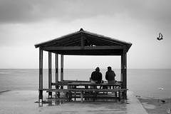 Enjoying the emptiness (tzevang.com) Tags: bw bythesea bwseascape loneliness beach monochrome greece piraeus