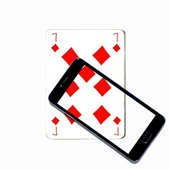 seven of diamonds (brescia, italy) (bloodybee) Tags: 365project playingcards cards play game 7 seven diamonds telephone cell mobile smartphone screen transparence red white black square