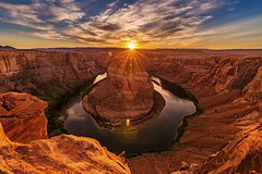 Solar Star (Godspeed70) Tags: sunset desert canyon sun sunlight landscape utah arizona nevada coloradoriver clouds sky river vista reflection water mountain cliff rock