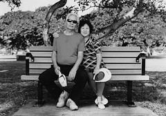 Mom and Dad (Shirley Lam Images) Tags: film 120 120film pentax645n blackandwhitephotography photography silvergelatinprint darkroom alamoanabeachpark magicislandbeach family mom dad 2017 analog