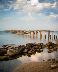 Unfinished (CreArtPhoto.ro) Tags: sand sunrise nori albastru tarm balcic apa ponton light longexposure bulgaria reflections bridge sea rocks balchik pietre blacksea shore mare