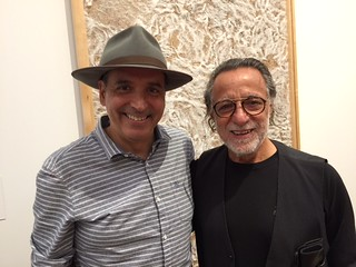 Artists Andres Michelena and  Rolando Peña at the Jorge Perez Collection of Cuban art opening at PAMM