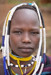 Mursi Woman (Rod Waddington) Tags: africa african afrique afrika äthiopien ethiopia ethiopian ethnic etiopia ethnicity ethiopie etiopian omo omovalley outdoor portrait people mursi tribe tribal traditional woman beads costume indigenous mago