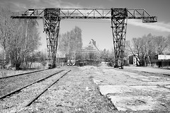 Past and Present (MarxschisM) Tags: latvia bw riga architecture structure crane