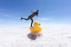 Duck surfing (eweliyi) Tags: 365tm2r travel bolivia eweliyi me ja self uyuni salardeuyuni saltflats salt white perspective forcedperspective saltdesert duck rubberduck fun silly woman girl posing standingonarubberduckie