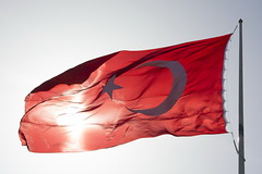 Turkish flag (Kirlikedi) Tags: flag nation symbol moon star sun reflection light red white sky turkey