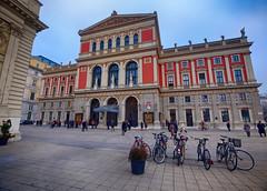 Concert Hall in Vienna, Austria (` Toshio ') Tags: toshio vienna austria concerthall viennaphilharmonic wienermusikverein architecture city bicycle bike people europe european europeanunion history fujixe2 xe2