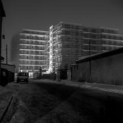 Katowice, Poland. (wojszyca) Tags: yashica mat 124g tlr 6x6 120 mediumformat fuji neopan acros 100 hc110 163 epson v800 night longexposure city urban construction winter