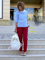 DSCN3450+Doshedevr+Ps (Mama Told Me) Tags: outfit look lookoftheday outfitoftheday lookbook marsala stripes cats backpack casual model fashionblogger fancy activered howtowear sunglasses catlook catlover