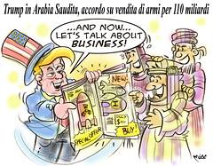 """Il piazzista dell'Apocalisse (Moise-Creativo Galattico) Tags: editoriali moise moiseditoriali """"editorialiafumetti"""" giornalismo attualità satira vignette trump armi apocalisse guerra arabia saudita"""