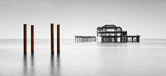 Frozen in Time (Solent Poster) Tags: brighton pier pentax k3ii 1685mm june 2016 landscape seascape west uk mono bwmonochrome long exposure
