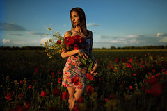 The things that.... (dontgiveacake) Tags: girl field sunset sky wish dream flowers portrait