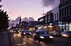 Sturt Street, Ballarat (bobarcpics) Tags: ballarat dusk mainstreet sunset shoppingstrip cars spire streetscape