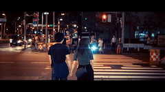 Shinjuku, Tokyo, Japan (emrecift) Tags: candid portrait cityscape night low light backlit street photography tokyo japan cinematic 2391 anamorphic bokeh blue streak flare sony a7 alpha legacy lens glass canon new fd 50mm f14 cinemorph filter emrecift