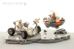 Meet Me on the Moon (dvdliu) Tags: lego moc scene collectible minifig ctf retro spaceman lunar rover ufo spaceship moon