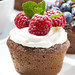 sweet chocolate cupcakes with fresh berries