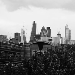 Urban walk 20 May 2017: Lewisham to Mile End 49 (neil mp) Tags: london poplar towerhamlets e14 city thecity skyline limehouselinktunnel easternportal pomo dlr gherkin cheesegrater blackandwhite bnw monochrome herontower tower42