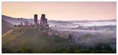 Near Mist - in explore (Dave Fieldhouse Photography) Tags: corfecastle corfe dorset jurassiccoast morning sunrise mist england castle ruins hill sidelight stitchedpanorama fuji fujixt2 fujifilm springtime spring dawn trees history wwwdavefieldhousephotographycom