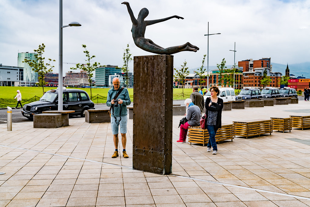 Titanica a sculpture by Rowan Gillespie depicting a diving female figure [Titanic Belfast]-129189
