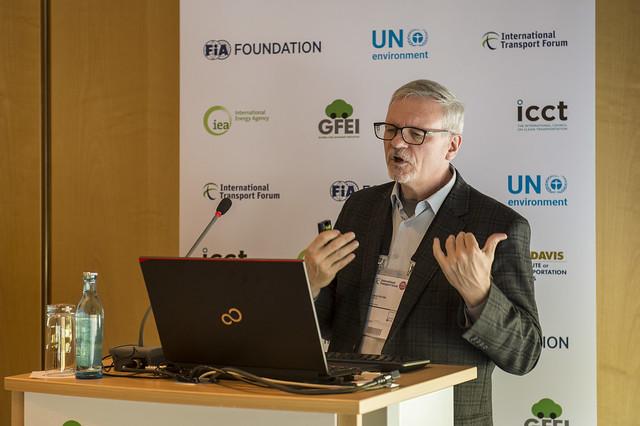 Lew Fulton presenting on improving vehicle efficiency