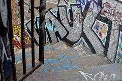 2017-04-17: Heading Down (psyxjaw) Tags: london londonist notting hill nottinghill westlondon trellick tower goldfinger housing flats stairs graffiti streetart