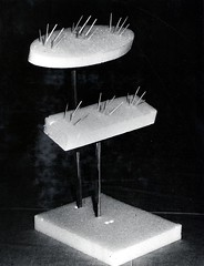 1965. European pine shoot moth. Artificial tree for mating experiments. Styrofoam platforms support toothpicks which simulate pine needles. Vashon Island. (USDA Forest Service) Tags: usda usfs forestservice pacificnorthwestforestandrangeexperimentstation pnfres foresthealthprotection stateandprivateforestry forestentomology forestinsect vashonisland europeanpineshootmoth rhyacioniabuoliana matingexperiment simulation toothpicks gedaterman july1965 ps3160 pineneedles