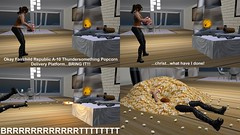 Oscar Mike Golf (alexandriabrangwin) Tags: alexandriabrangwin secondlife 3d cgi computer graphics virtual world photography house kitchen comic funny silly a10 thunderbolt anti armor warplane usaf usmc support aircraft popcorn machine firing gatling gun cannon bowling over woman force high fire rate fast popped corn too much overwhelming knocked off feet army brrrrrrttt