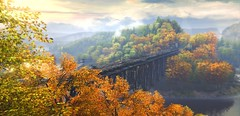 """""""Colors of autumn"""" (L1netty) Tags: games screenshot autumn thevanishingofethancarterredux gaming reshade pc theastronauts nature outdoor scenery 4k color bridge sky clouds river videogame"""