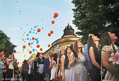 First Milestone (Tanjica Perovic) Tags: youth young teenagers smiles beauty happiness hopes future generations dress gowns sky balloons celebration prom lookingup aspirations expectations