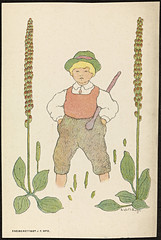 Barnemotiv av Lisbeth Bergh / Child by Lisbeth Bergh (National Library of Norway) Tags: nasjonalbiblioteket nationallibraryofnorway postkort postcards lisbethbergh kunstnerkort blomster flowers barn children