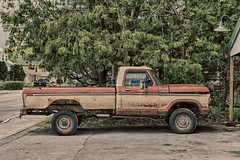 Old Truck (gabi-h) Tags: truck rust vehicle vintage old gabih warkworth truckthursday dilapidated needsrepair tree street pavement garage